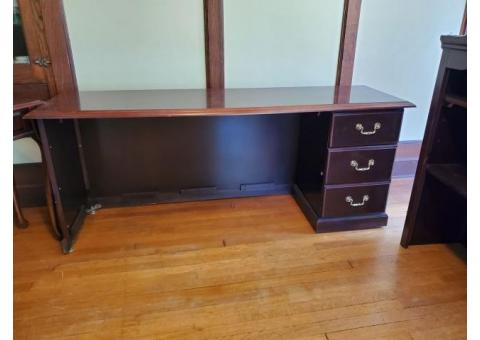 Office desk with bookcase, tables